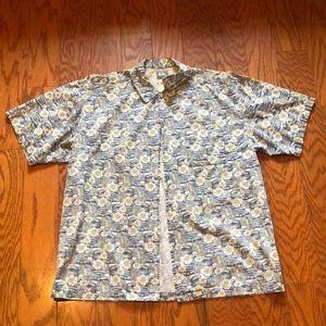 quiksilver flower button down shirt
